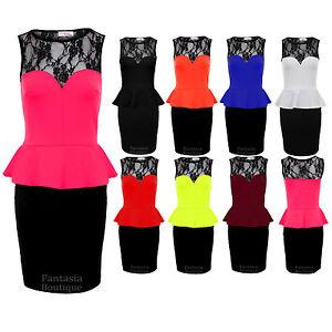 Ladies-Black-Lace-Sweetheart-Peplum-Sexy-Party-Womens-Short-Dress-8-10-12-14-16