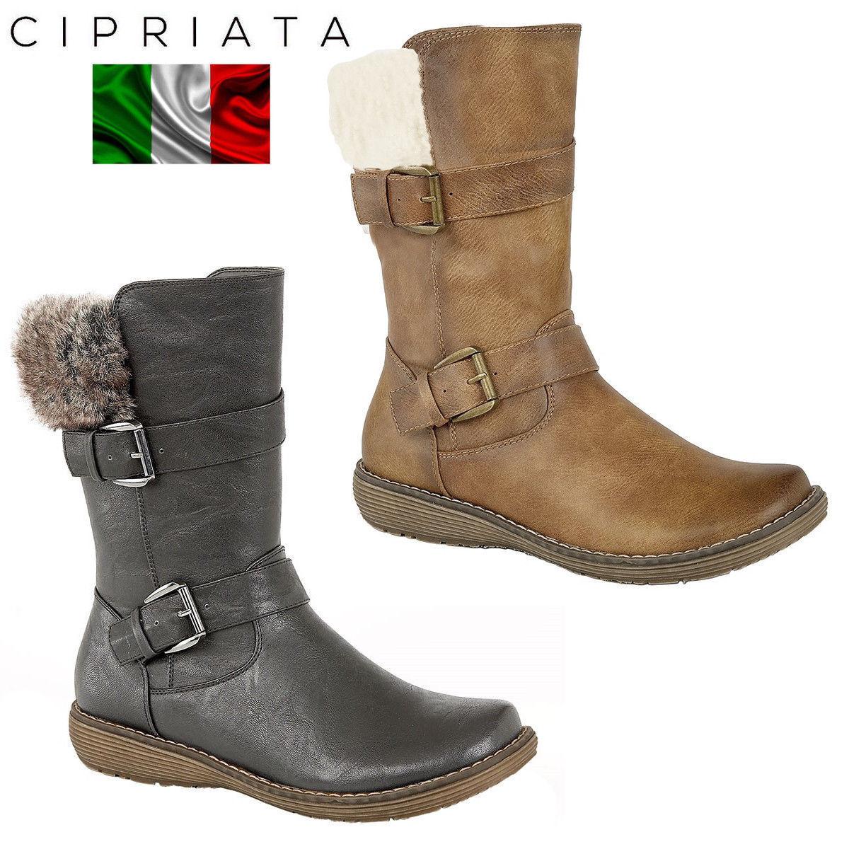f9f685c474a Cipriata Bella Mujeres Mitad de botas Twin Imitación De Cuero De Imitación  Cuello De Piel Buckler Pantorrilla nrrxrx7093-zapatos nuevos