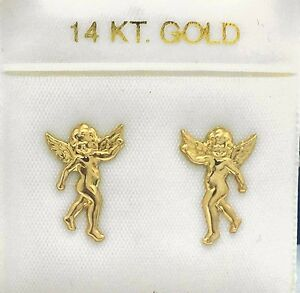 Image Is Loading Solid 14k Yellow Gold Stud Angels Earrings Free