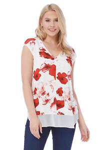 Roman-Originals-Femmes-Rouge-V-cou-Poppy-Imprimer-Mousseline-Ourlet-Haut-Tailles-10-20