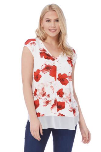 Roman Originals Women/'s Red V-Neck Poppy Print Chiffon Hem Top Sizes 10-20
