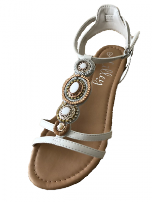 ladies white jeweled gladiator sandals size 3,4,5,6,7,8,9 rrp £22