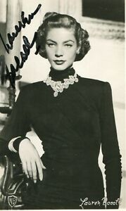 LAUREN BACALL . Autograph . Hand signed . 2-4 inch . Very good condition .
