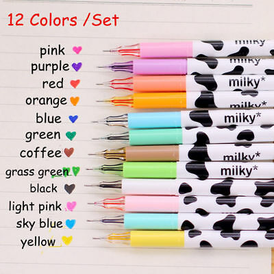 12Pcs Cute Milky Gel Pens Ballpoint Pen Set Study Stationery Student Supplies
