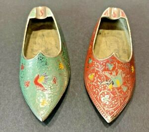 Vintage Pair of Etched Brass Shoe Slipper Ashtray Cigarette Elephant & Rooster