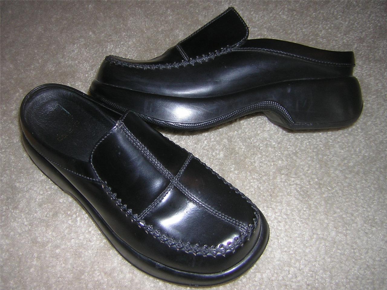 DANSKO Slip-on Dressy Black Leather Mule Clogs Women's Sz EU 36 = US Sz 6-6.5
