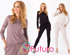 Sexy Women's Jumpsuit Boat Neck Long Sleeve Party Playsuit Sizes 8-18 1065