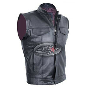 Son Of Anarchy Black Real Leather Handmade Motorcycle Biker Waistcoat/Vest