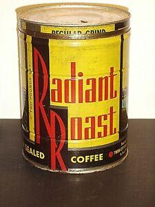 Radiant Roast Lidded 2 Lb Coffee Tin 1950 S Fairway Foods