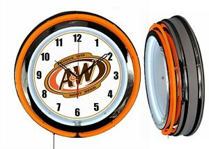 A /& W Root Beer Ice Cold 18-19 Double Neon Clock Orange Neon