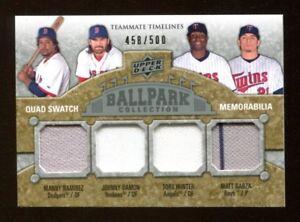 2009-Upper-Deck-Ballpark-Ramirez-Hunter-Garza-Damon-Quad-Jersey-Card-44603