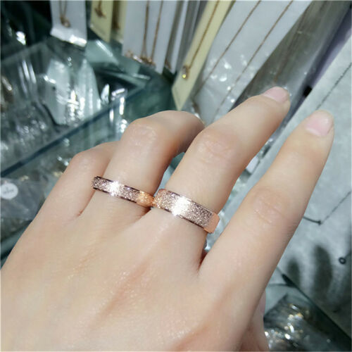 Men Women Titanium Steel Band Ring Gold Silver Frosted Wedding Jewelry WO