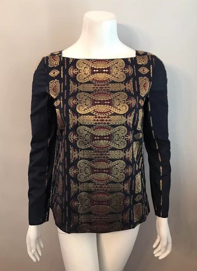NWT Tory Burch Navy Blau Gold Jacquard Cotton Silk Tunic Blouse Top Größe 2