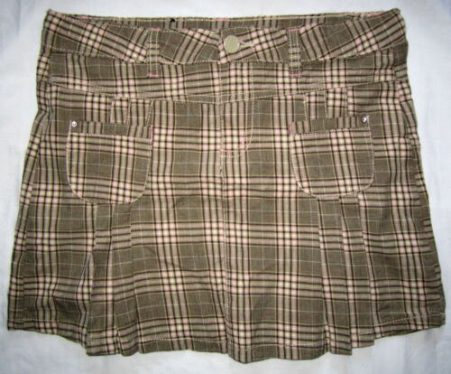 FADED GLORY Plaid Pleat Retro Adjustable Waistband School Mini Skirt Youth Girl