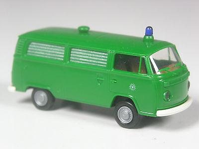 Brekina # 33801 VW T2 Bus Hochdach Polizei grün in OVP schön