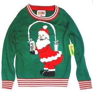 Medio di Donna Elves Natale Nuovo Break The Internet Santa Tipsey Brutto Maglione SAqwx
