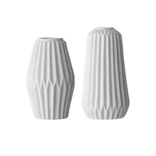 Bloomingville Vases Fluted White Porcelain Set Of 2 Ebay
