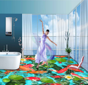 3D Red Koi Lotus 605 Floor WallPaper Murals Wall Print 5D AJ WALLPAPER UK Lemon