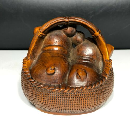 Japanese Netsuke Old Vintage Boxwood Collectible Basket /& Pair Happy Pigs Statue