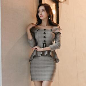 lowest price 03a6c 37fe1 Dettagli su Elegante vestito abito tubino bianco grigio corto maniche  lunghe 4014