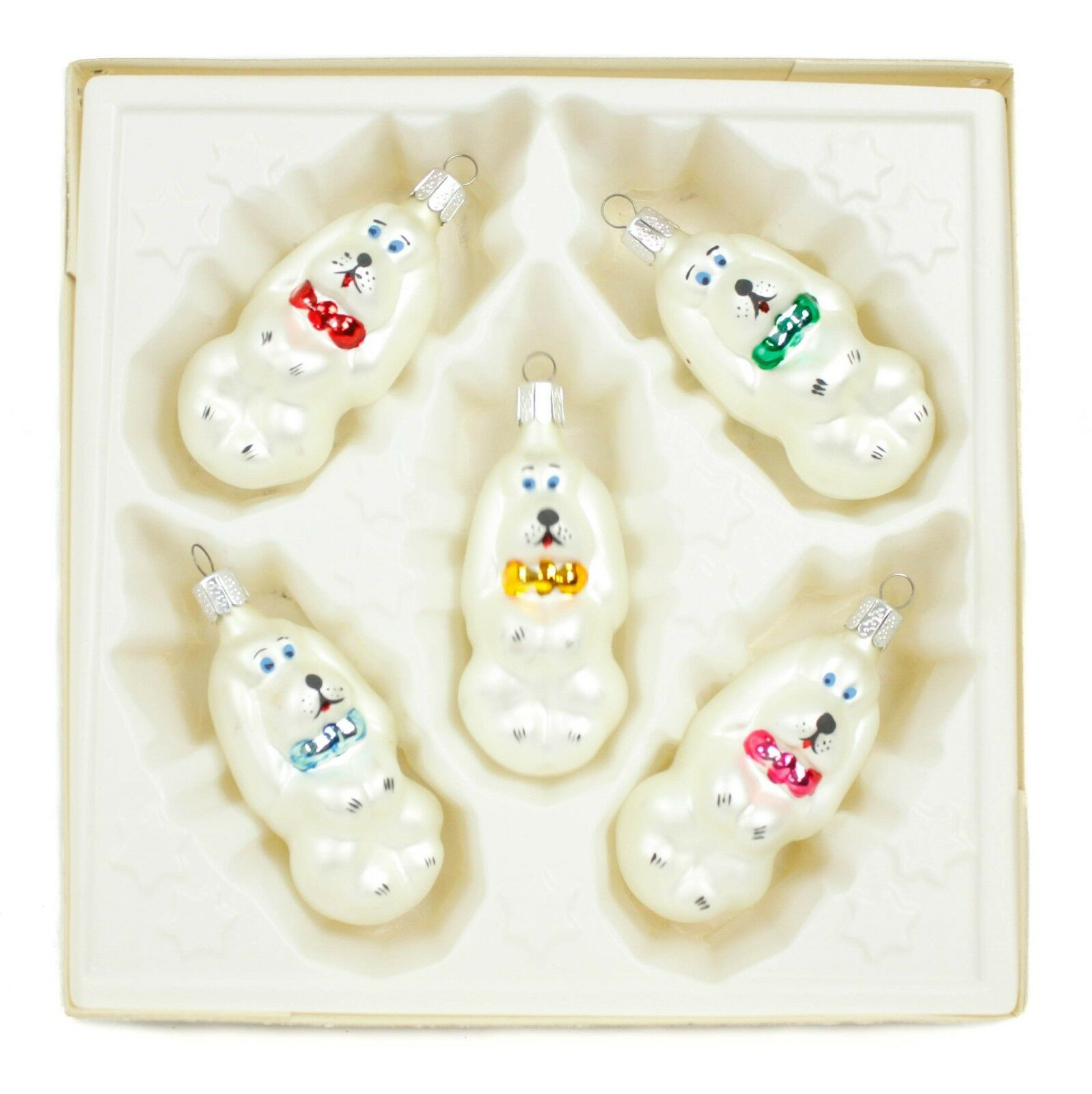 Bow Tie Weiß Dog Vintage Handblown Handblown Handblown Eastern Europe Glass Christmas Ornament Set bb86c1