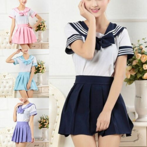 Japanese School Girls Uniform Dress Sailor Outfit Women Anime Cosplay Costume UK