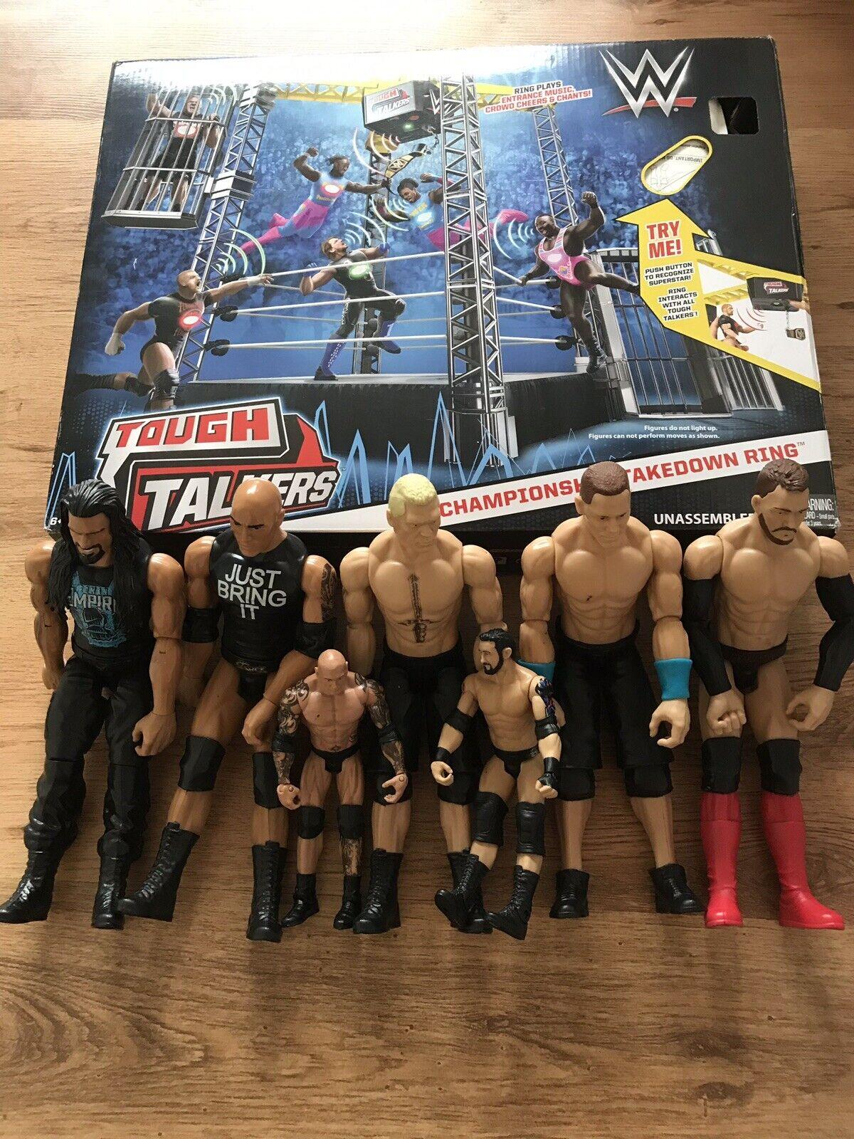 WWE Tough Talkers  Championnat Takedown Anneau et figures Bundle Inutilisé  sortie d'exportation
