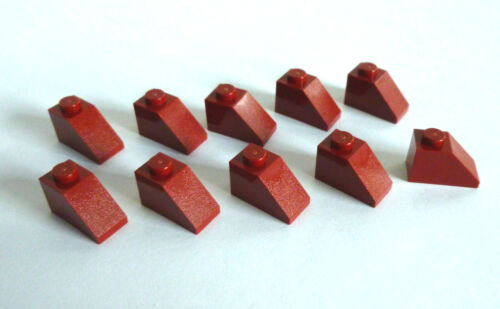 Neuware. 10 x LEGO® 3040 Dachsteine 1x2 bordeaux rot 45°