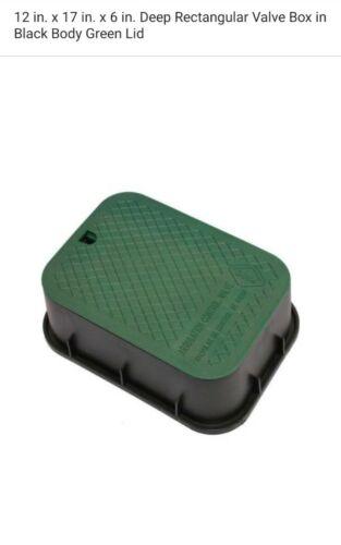 x 17 in x 6 in Deep Rectangular Valve Box in Black Body Green Lid Dura 12 in