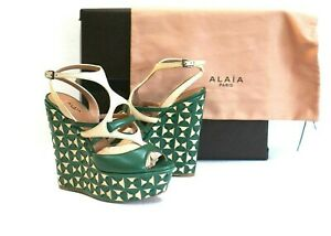 94fac8cfdca9b NEW ALAIA Green Beige Leather Open toe Platform Wedges Size 9.5 /40 ...