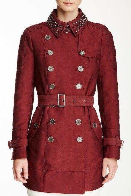 Sam Edelman Women's Studded Collar Cotton Blend Lorissa Trench Coat Wine M