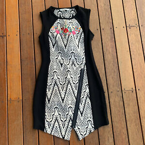 Desigual-Size-36-Pencil-Dress-Black-amp-White-Embroidery-Business-Cocktail