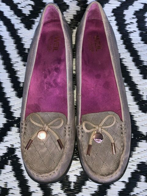 Weil Orthaheel Shoes Loafers SlipOn VENICE Taupe Leather & Suede Size 7.5 womens