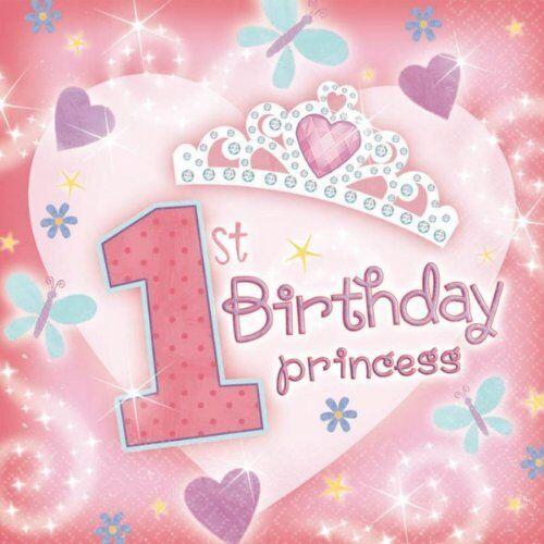 36 1st BIRTHDAY PRINCESS 2PLY SERVIETTES LUNCHEON NAPKINS 32cm x 32cm BIRTHDAY P