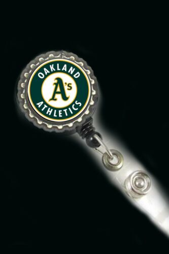 Oakland A/'s Athletics work Retractable Reel ID Badge Holder nurse cna secretary