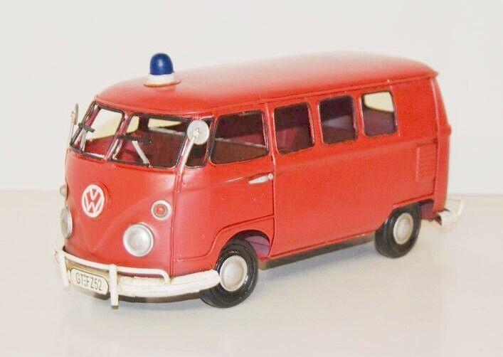 VW Bus Fire Brigade Model Car Nostalgia Tin Model, Metal 32 Cm ( Ko)