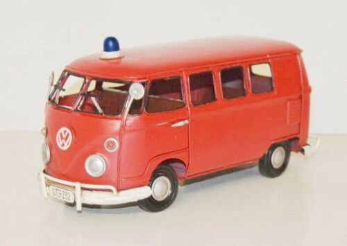 Ko VW Bus Feuerwehr Modellauto Nostalgie Blechmodell,Metall 32 cm