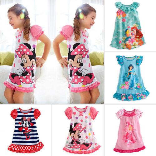 Girls Kids Princess Moana Elsa Sleepwear Pyjamas Nightie Pjs Nightdress Age 2-5Y
