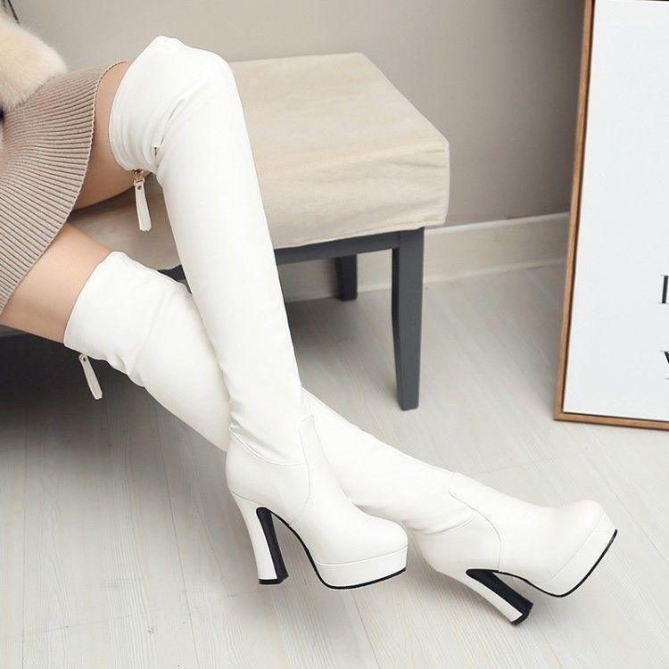 Women's Round Toe Platform Chunky High Heels Over the Knee Boots Riding Boots