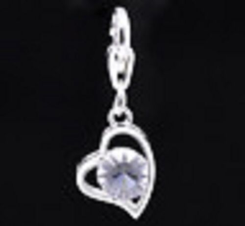 NEW SILVER AND CLEAR ACRYLIC HEART CLIP ON CHARM