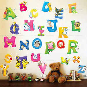 Large Animal Alphabet Letter Wall Stickers Nursery Early