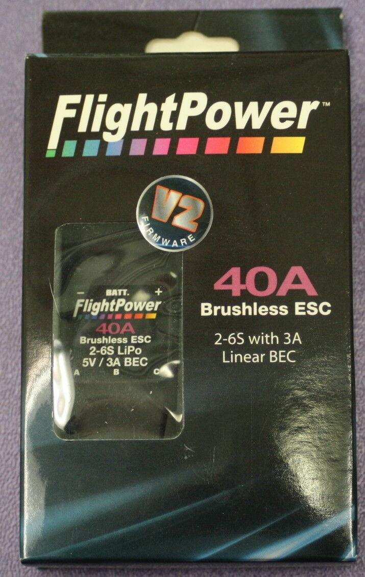 Motor Controller DC - Flight Power 40A Brushless ESC w BEC 2-6SLiPo