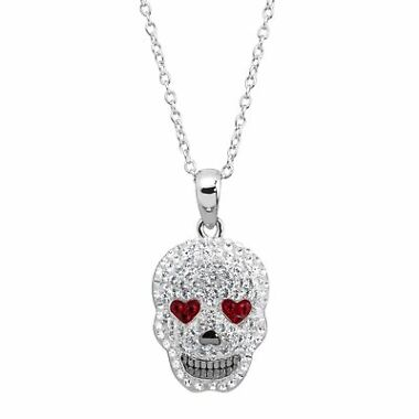 Crystaluxe Heart Eyes Skull Pendant In Sterling Silver