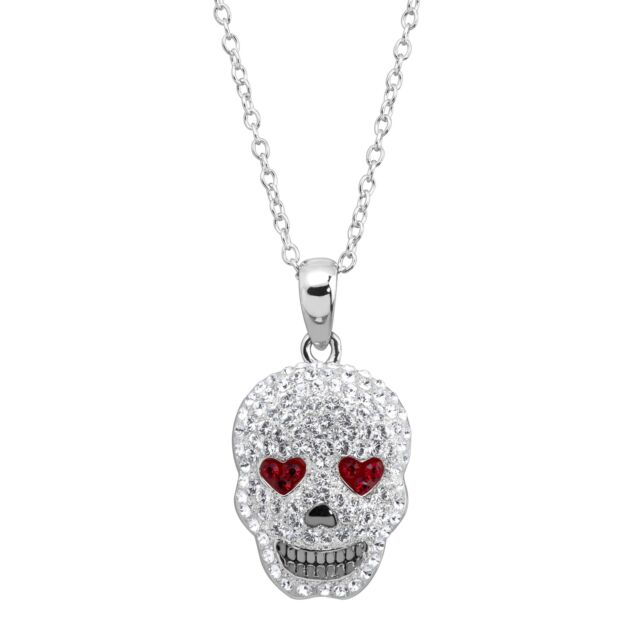Crystaluxe Heart Eyes Skull Pendant with Swarovski Crystals in Sterling Silver
