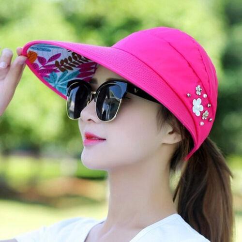 Womens Summer Beach Work Sun Hat Visor Fold able Roll Up Wide Brim Open Top Cap