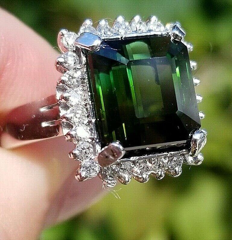 VVS Rich Green Tourmaline Diamond 14k white gold halo ring