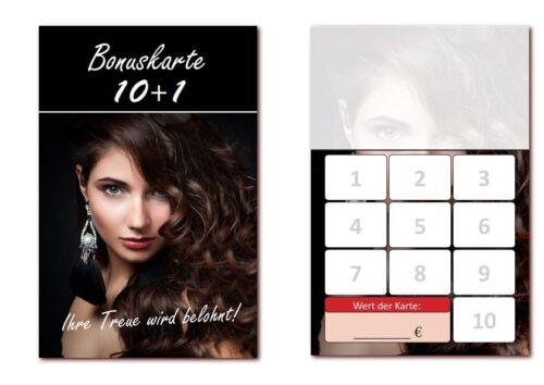BOK-410 500 Stück hochwertige Bonuskarten Frisör  mit 10 Stempelfelder Friseur