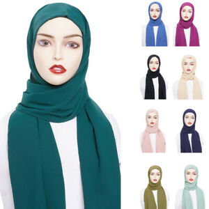 Muslim-Women-Hijab-Scarf-Plain-Shawl-Wrap-Headscarf-Islamic-Headwear-70-180cm