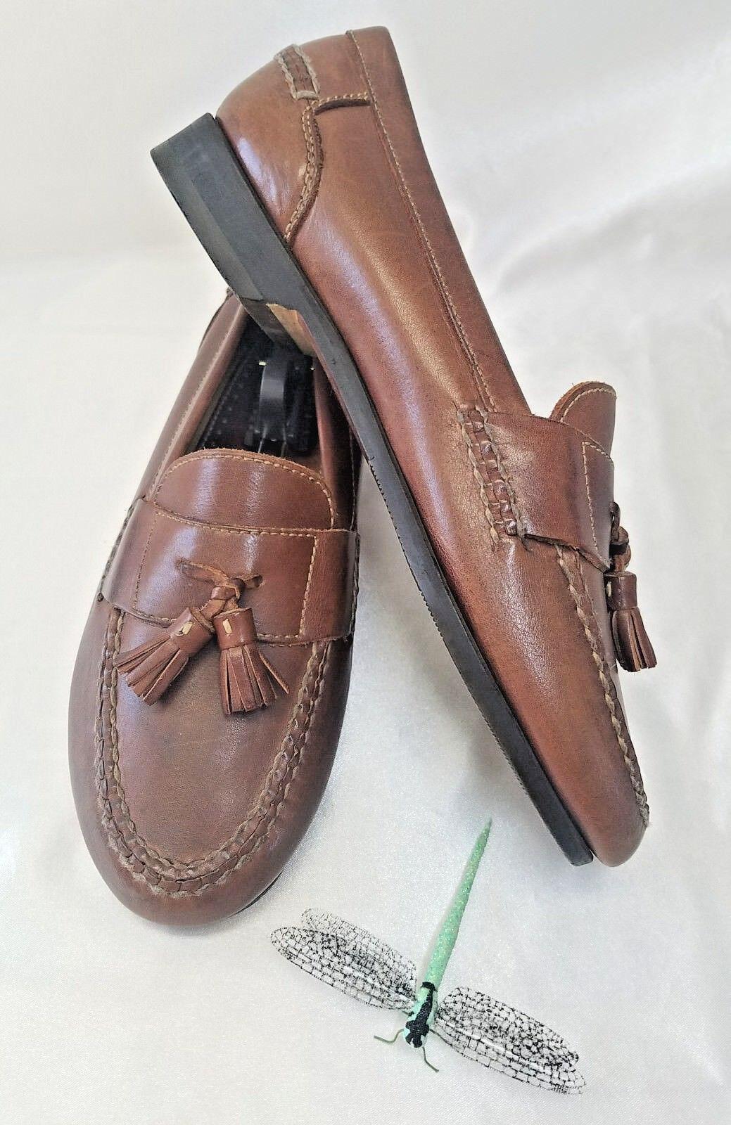 Johnston & Murphy Mens Slip-on Tassel Loafers Brown Leather Sz 9M(US)
