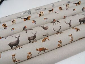 Mini-Prints-Country-Side-Animals-Linen-Look-Fabric-Curtain-Upholstery-Quilting
